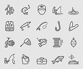 Line icons set for Fishing