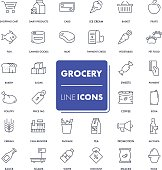 Line icons set. Grocery pack. Vector illustration.