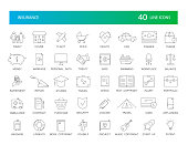 Line icons set. Insurance pack. Vector Illustration