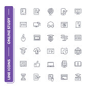 Line icons set. Online education pack. Vector illustration.