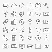 SEO Line Icons Set. Vector Collection of Modern Thin Outline Web Development Symbols.
