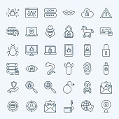 Line Internet Security Icons. Vector Set of Outline Cyber Crime Symbols.
