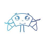 line kawaii cute happy croissant bread vector illustration