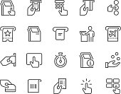 Simple Set of Kiosk Terminal Related Vector Line Icons.