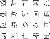 Simple Set of Legal Documents Related Vector Line Icons. Contains such Icons as Stamp, Certificate, License more. Editable Stroke. 48x48 Pixel Perfect.