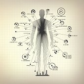 concept of biometric technology, digital body Scanning, human body combined with data