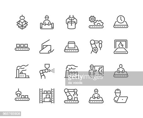 Line Mass Production Icons : stock vector