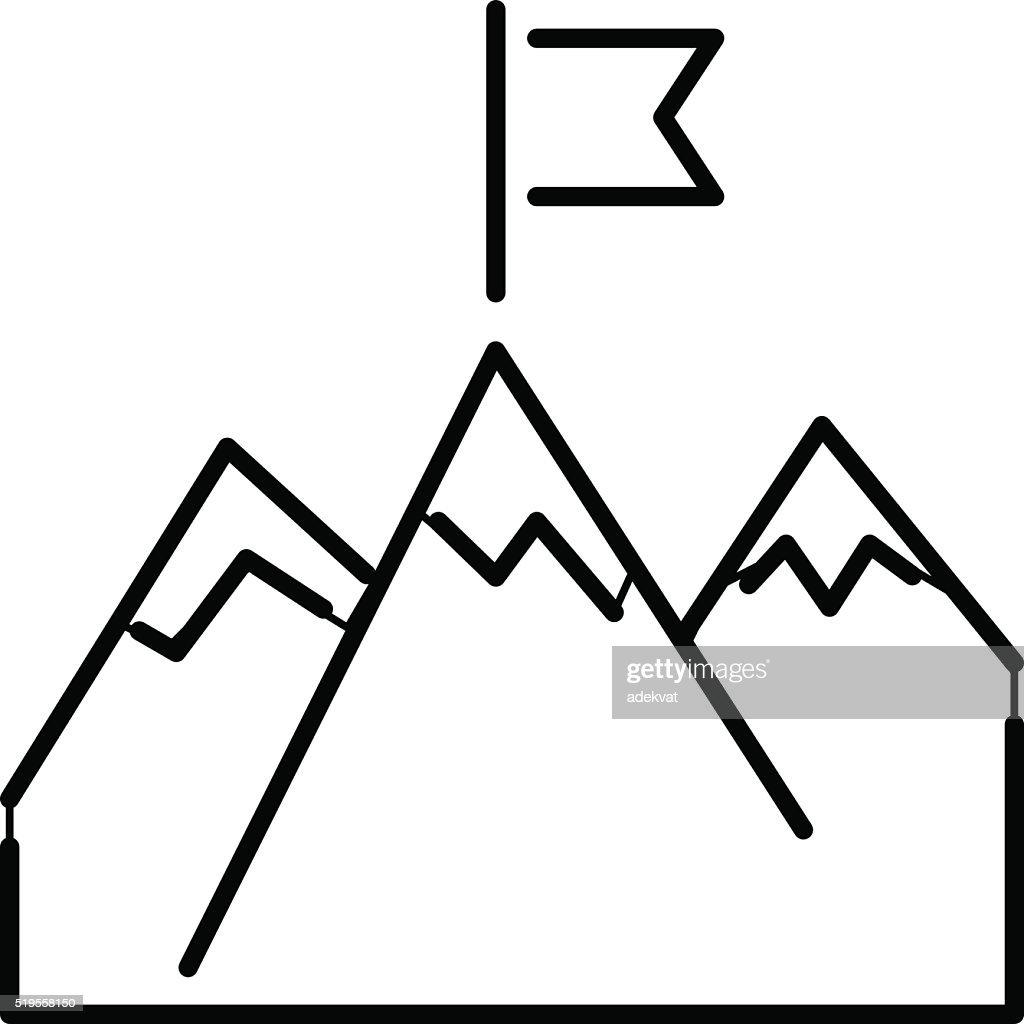 line mountains with flag arrow success icon diagram symbol vector Create Icon line mountains with flag arrow success icon diagram symbol vector