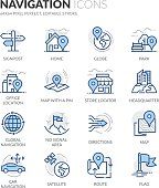 Simple Set of Navigation Related Color Vector Line Icons. Contains such Icons as Store Locator, Office, Home and more. Editable Stroke. 64x64 Pixel Perfect.