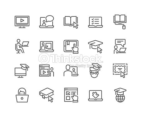 Line Online Education Icons : stock vector