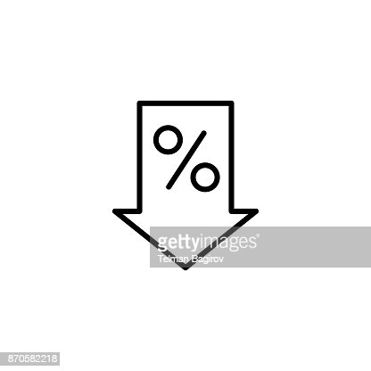 line percent down icon on white background : stock vector