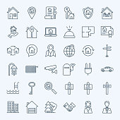 Line Real Estate Icons. Vector Collection of Outline House and Building Symbols.