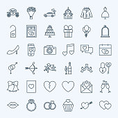 Line Save the Date Icons. Vector Collection of Modern Thin Outline Wedding Symbols.