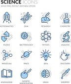 Simple Set of Science Related Color Vector Line Icons. Contains such Icons as DNA, Analysis, Research, Genetic Modification and more. Editable Stroke. 64x64 Pixel Perfect.