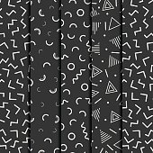 Retro geometric line shapes seamless patterns set. Hipster fashion 80-90s. Abstract jumble textures. Black and white. Zigzag lines. style for printing, website, fabric, poster.