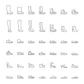Line shoes icons set, men, women. Vector illustration