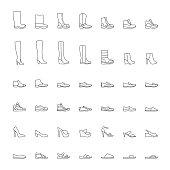 Line shoes icons set, men, women. Vector illustration