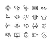 Simple Set of Soccer Related Vector Line Icons. Contains such Icons as Stadium,