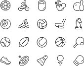 Simple Set of Sport Equipment Related Vector Line Icons. Contains such Icons as Soccer Football, Bodybuilding, Jugging and more. Editable Stroke. 48x48 Pixel Perfect.