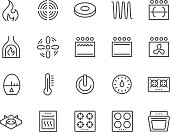 Simple Set of Stove Related Vector Line Icons. Contains such Icons as Timer, Heat, Gas, Induction, Electrical Stove and more. Editable Stroke. 48x48 Pixel Perfect.