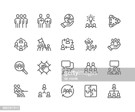 Line Team Work Icons : stock vector