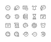 Simple Set of Time Related Vector Line Icons. Contains such Icons as Time Inspection, Log, Calendar and more. Editable Stroke. 48x48 Pixel Perfect.