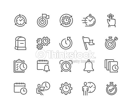 Line Time Management Icons : stock vector