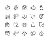 Simple Set of Time Management Related Vector Line Icons. Contains such Icons as Milestone, Reminder, Goal, Working Hours and more. Editable Stroke. 48x48 Pixel Perfect.