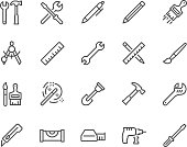 Simple Set of Tools Related Vector Line Icons. Contains such Icons as Wrench, Pen, Screw, Hammer and more. Editable Stroke. 48x48 Pixel Perfect.