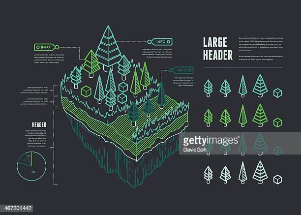 Line UI Infographic Elements - Floating Landmass