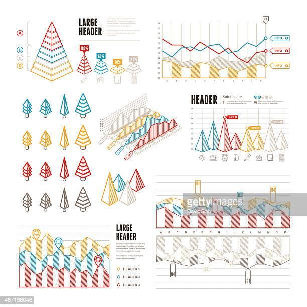 Line UI Infographic Elements - Triangular & Pyramids
