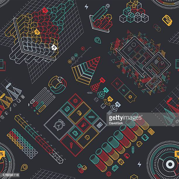 Line UI Infographic Seamless Pattern