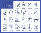 Line vector icons in a modern style. Software tools for drawing and design, vector and raster graphics.