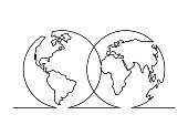Continuous line drawing of World map in Hemispheres. Vector illustration