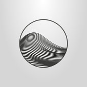 black and white linear abstract mountain icon