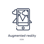 Linear augmented reality icon from Future technology outline collection. Thin line augmented reality icon isolated on white background. augmented reality trendy illustration