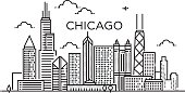 Linear banner of ChLinear Chicago City Silhouette with Typographic Designicago city. Line art.