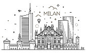 Italy, Milan architecture line skyline illustration. Linear vector cityscape with famous landmarks, city sights, design icons