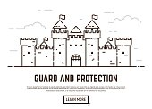 Linear style castle vector illustration. Medieval castle with towers and walls with flags. Guard and protection concept. Opened gate.