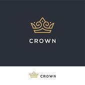 Linear elegant crown icon in golden color. Royal, luxury vintage symbol.