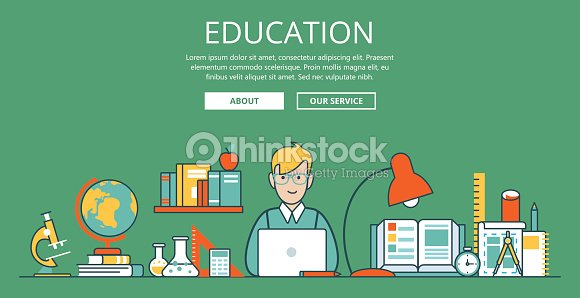 Linear flat education website hero image vector illustration educational and knowledge concept nerd student with laptop and college objects microscope globe book flask test tube and sketch ccuart Images