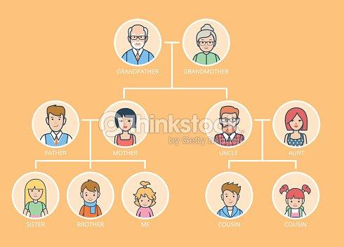 Linearen flachen stammbaum infografiken vorlage vektorillustration gro eltern eltern kinder die - Stammbaum basteln mit kindern ...