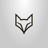 black-and-white linear frameless fox face icon