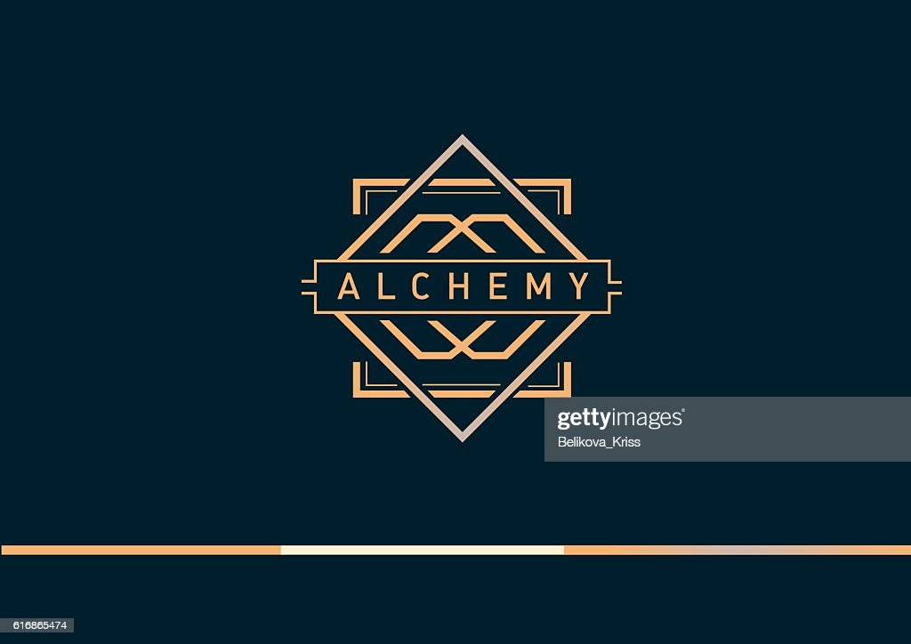 linear gradient logo on alchemy : Vector Art