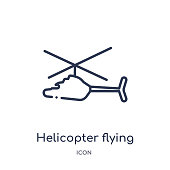 Linear helicopter flying icon from Airport terminal outline collection. Thin line helicopter flying vector isolated on white background. helicopter flying trendy illustration
