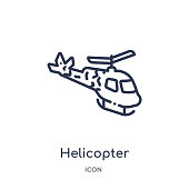 Linear helicopter icon from Army and war outline collection. Thin line helicopter vector isolated on white background. helicopter trendy illustration