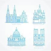 Linear icion set. World famous cathedral. Landmarks of europe.. Cologne Cathedral, Notre Dame de Paris Cathedral St. Peter Basilica, St. Basil Cathedral,