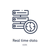 Linear real time data icon from General outline collection. Thin line real time data icon isolated on white background. real time data trendy illustration