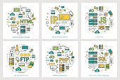 Vector linear concept of coding and programming languages. Round banners for web programming, html, js, php and sql technologies