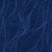 Linear seamless texture on the basis of abstract leaves. Inverse background in dark blue tones.